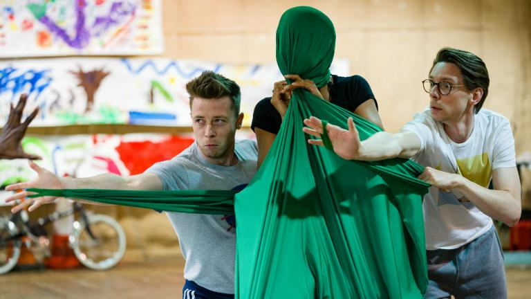 Josh Donovan and Richard Kent in rehearsals for Peter Pan