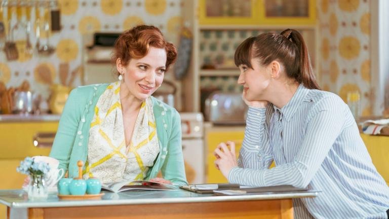 Katherine Parkinson and Sara-Gregory in Home, I'm Darling in the West End