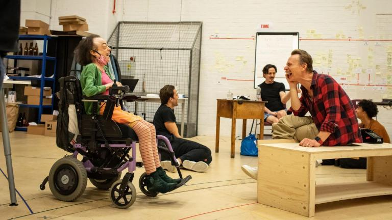 Liz Carr and Ben Daniels in rehearsals for The Normal Heart
