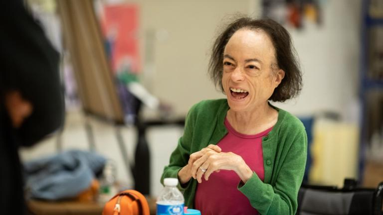 Liz Carr in rehearsal for The Normal Heart