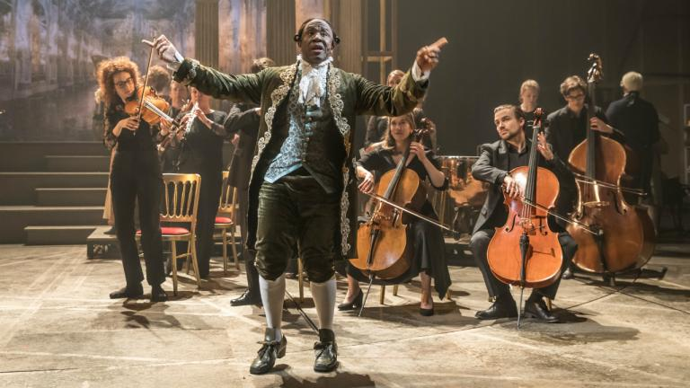 Lucian Msamati as Antonio Salieri in Amadeus at the National Theatre (c) Marc Brenner 1