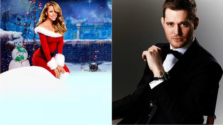 Composite image. Left, an image of Mariah Carey in a Christmas outfit. Right, Michael Buble looking suave in a suit.