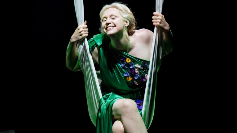 A Midsummer Nights Dream with Gwendoline Christie as Titania on a swing made out of a sheet
