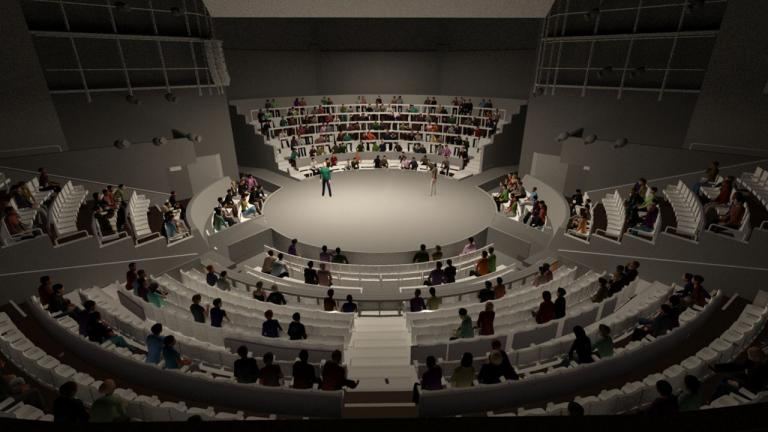 Olivier Theatre in the round computer render showing socially distanced seating and performers