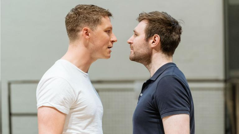 Peter Gynt rehearsal image with Lorne MacFadyen and James McArdle