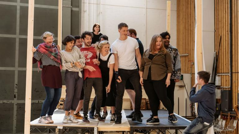 Peter Gynt rehearsal image with company members