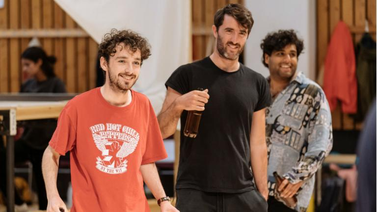 Peter Gynt rehearsal image with Ryan Hunter, Andrew Fraser and Jatinder Singh Randhawa
