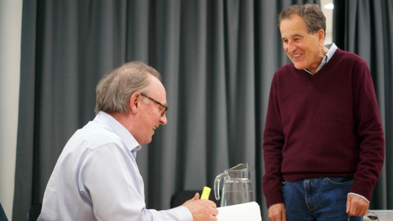 Peter Davison and Nicolas Kent in rehearsal
