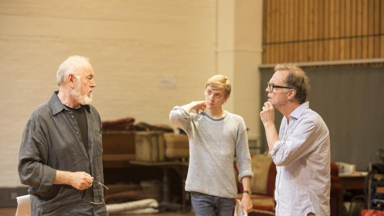 Peter Egan, Joshua James and Jonathan Kent in rehearsals for the Young Chekhov trilogy