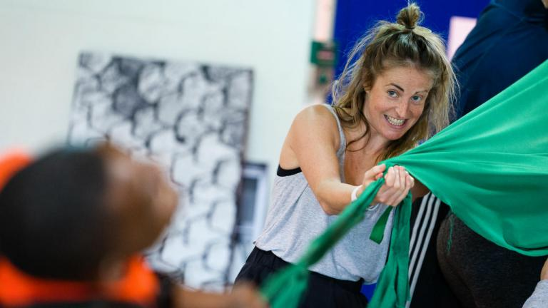 Philippa Hogg in Peter Pan rehearsals