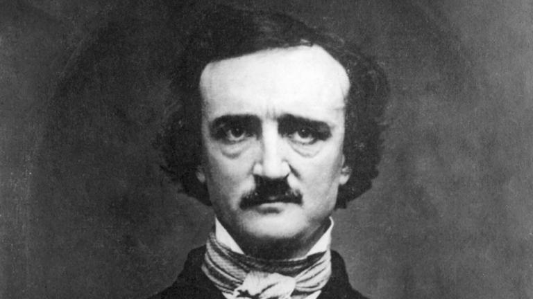 A black and white portrait of Edgar Allan Poe