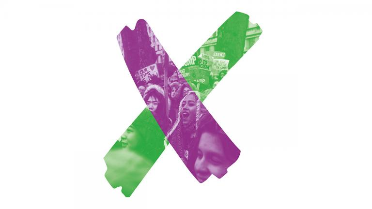 The Courage Everywhere marketing image - a cross in purple and green with faces or women protesters lightly seen underneath