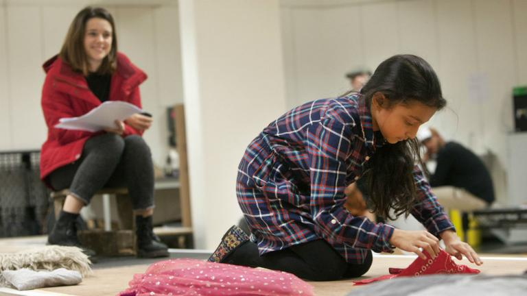 Rachel Redford and Alyssa Denise D'Souza in rehearsals for The Jungle