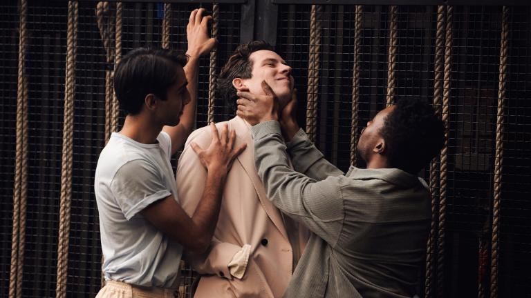 Romeo and Juliet production image with Shubham Saraf, Josh O'Connor and Fisayo Akinade