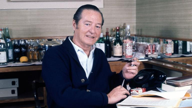 Sir Terence Rattigan in his suite at Claridges Hotel London