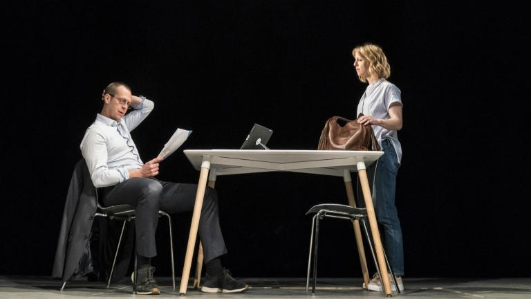 Stephen Campbell Moore and Claudie Blakley in Consent at the Harold Pinter Theatre