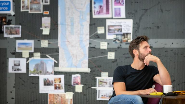 Luke Norris in rehearsals for The Normal Heart