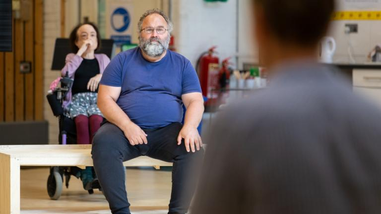 Robert Bowman in rehearsals for The Normal Heart