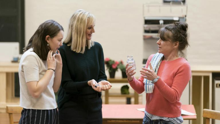 Liv Hill, Katherine Kingsley and Lucy Black in rehearsals for Top Girls