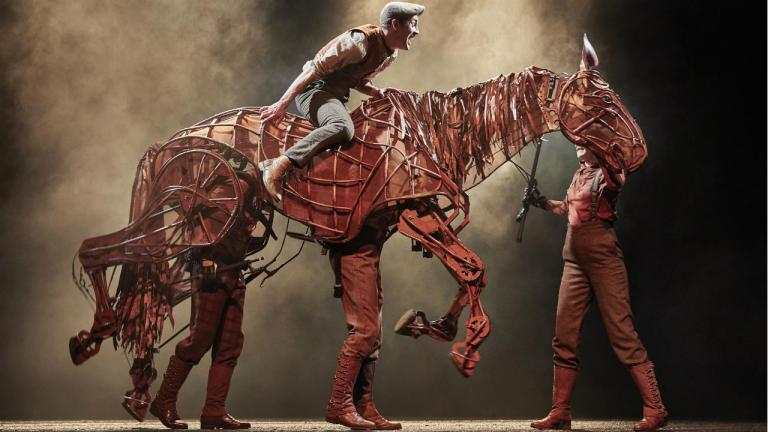 War Horse production image 2019 cast with Albert riding Joey