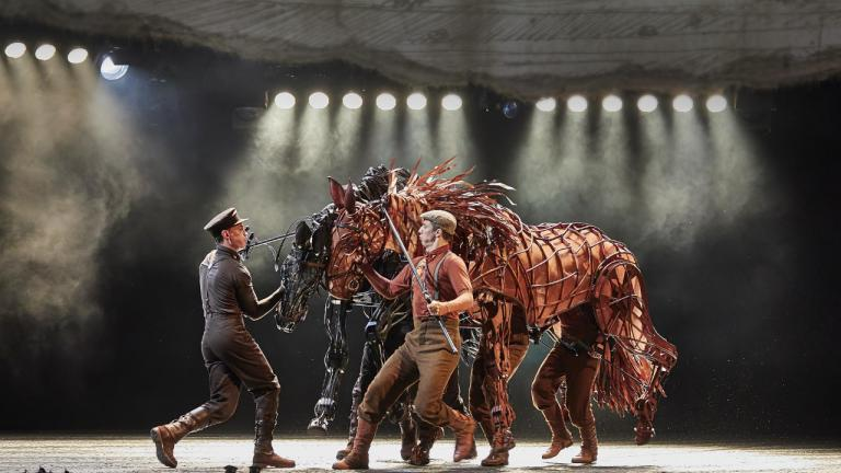 War Horse production image 2019 cast with Topthorn and Joey puppets and operators