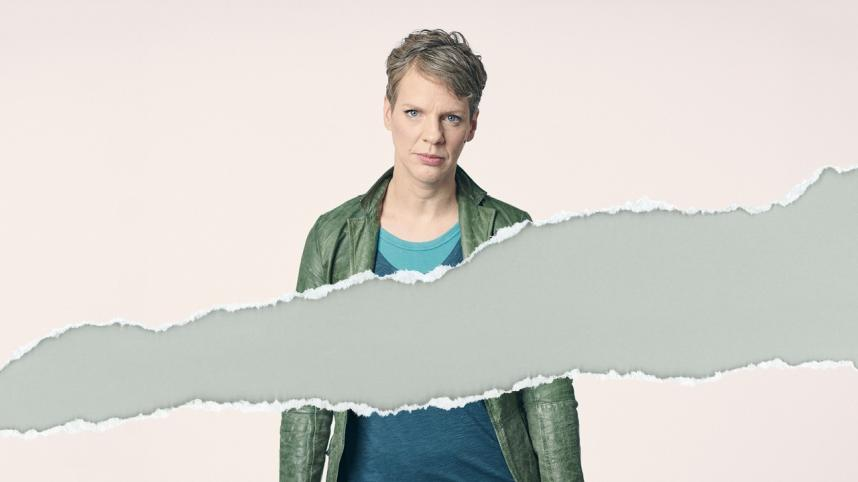 All of Us - half-portrait photo of Francesca Martinez treated as if a sectionhas been torn out across the middle