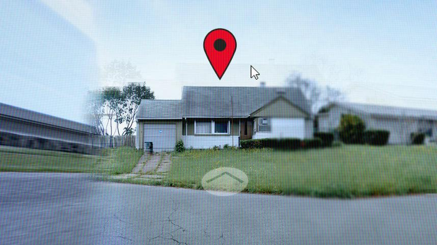 Downstate poster - a pixellated image of suburban house with a map pin above it