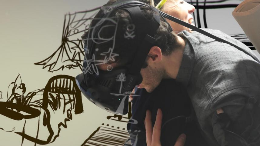 Draw Me Close at the Young Vic poster - a collage of illustration, graphics and photo of young man in jacket and VR headset