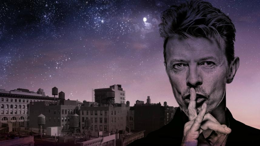 Lazarus poster, with image of David Bowie against a cityscape