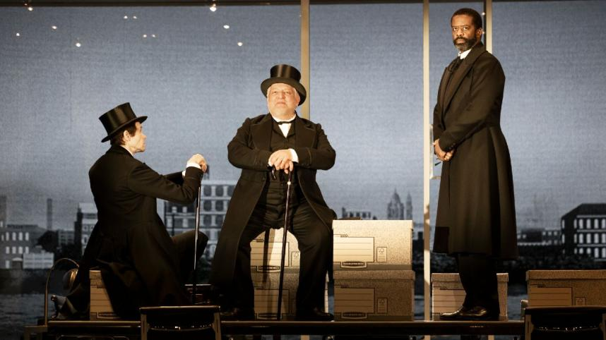 The Lehman Trilogy production image with Adam Godley, Simon Russell-Beale and Adrian Lester
