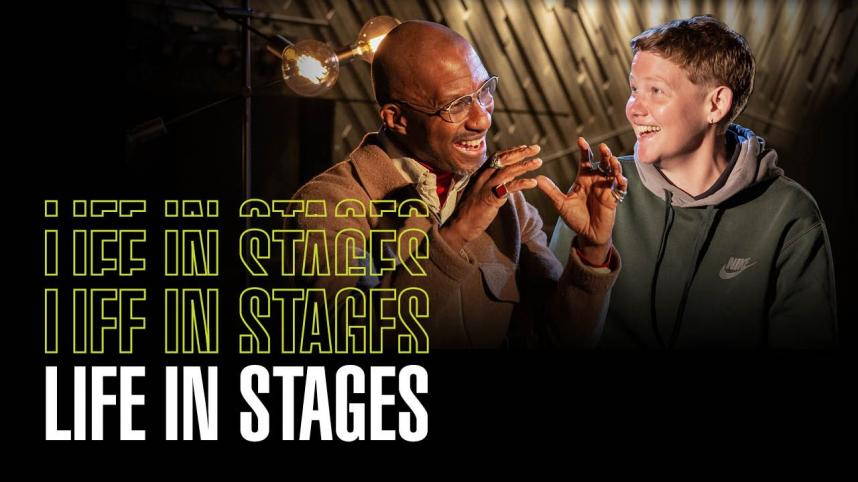 Life in Stages with photos of Clint Dyer and Kae Tempest during their interview on the Lyttelton Stage
