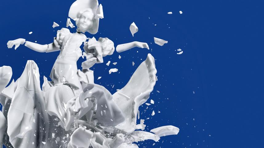 Manor by Moira Buffini - an image of a white china figurine breaking apart