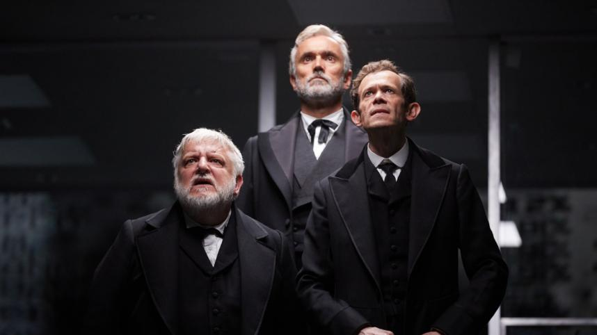 NT Live The Lehman Trilogy: production photo of Simon Russell Beal, Ben Miles and Adam Godley