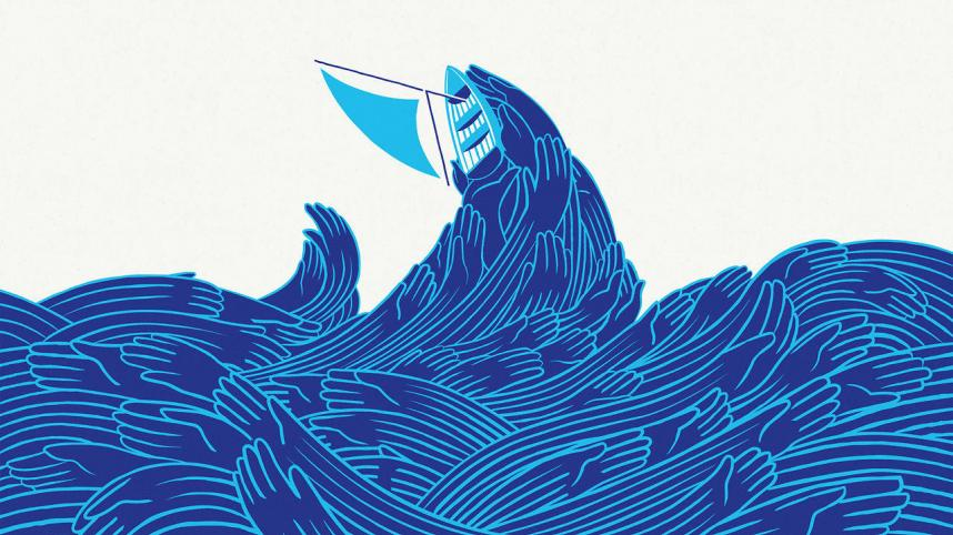 Pericles - Graphic of a sailboat tossed upon waves made of the outline of hands
