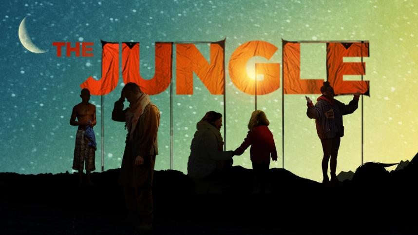 The Jungle at Playhouse Theatre. Silhouettes of people underneath a sign for The Jungle and the night sky