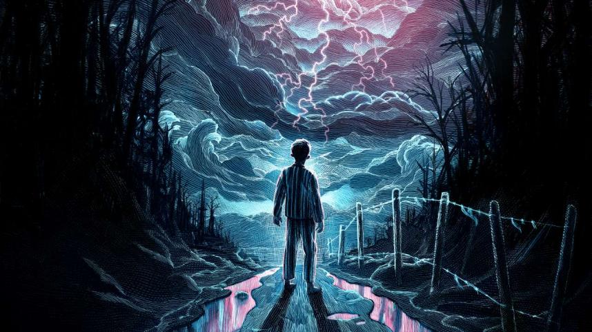 The Ocean at the End of the Lane poster illustration with a young boy in pajamas on a country lane, looking up at a lightning-filled sky