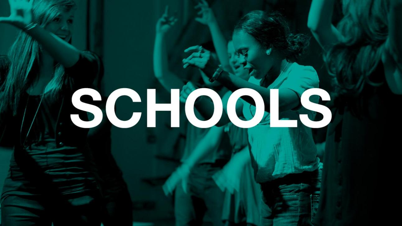 Young people in a movement workshop; with a turquoise filter and the word 'Schools' in white text