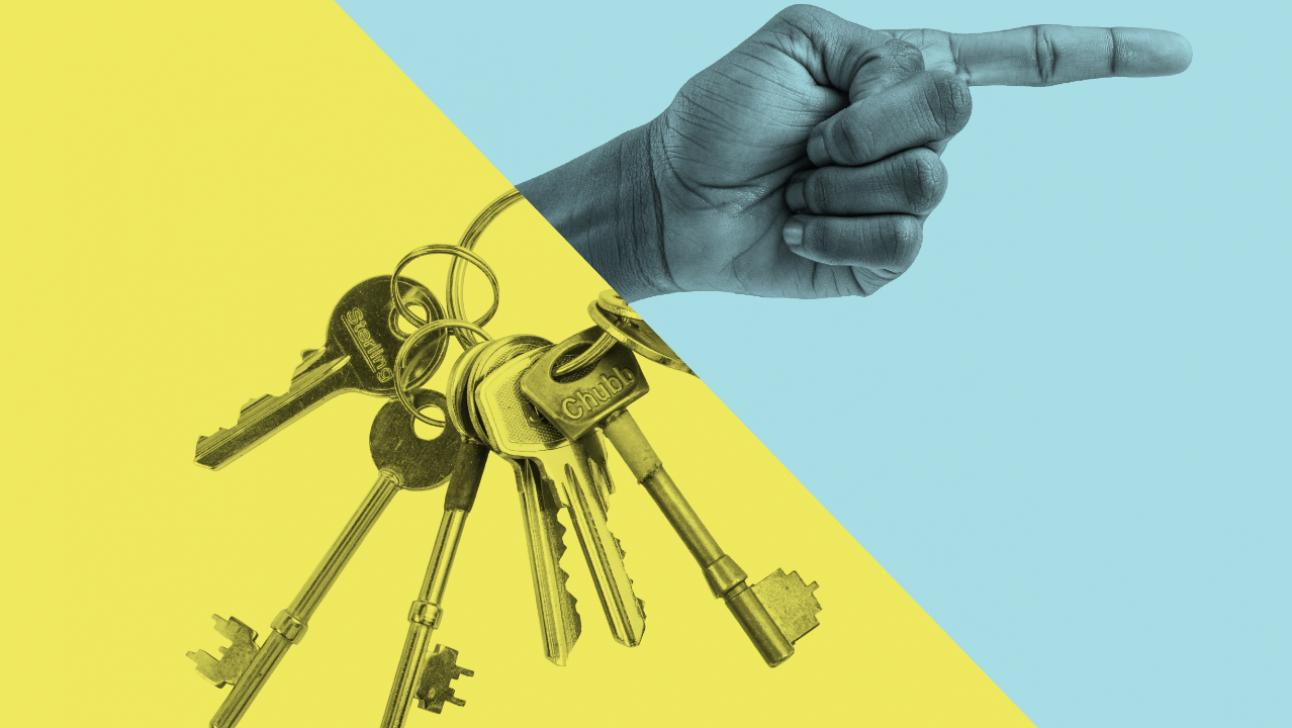 Lead image, Keys and a pointing hand