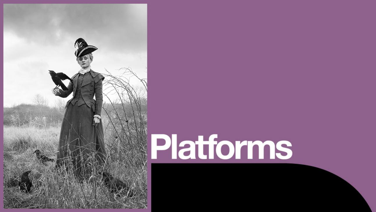 Common Platform poster - with photo of Anne-Marie Duff in costume with crows