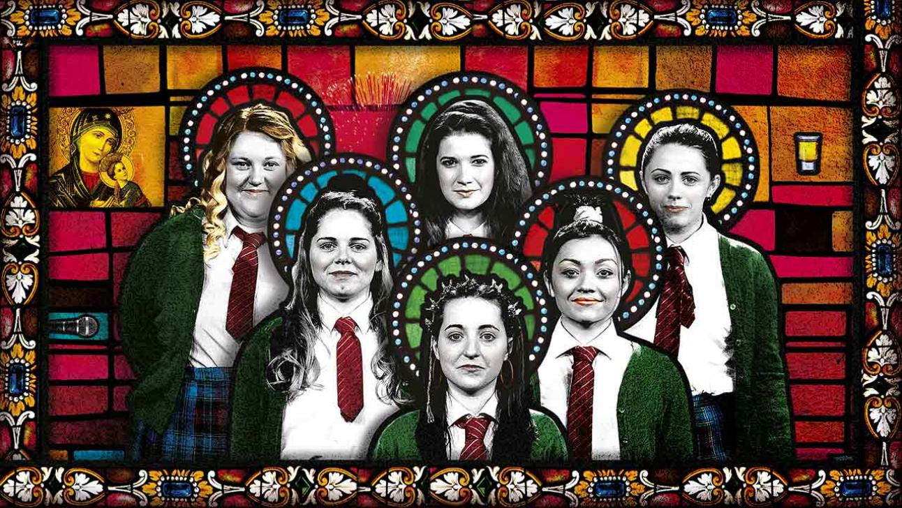 six girls from the choir push each other next to the title Our Ladies of Perpetual Succour