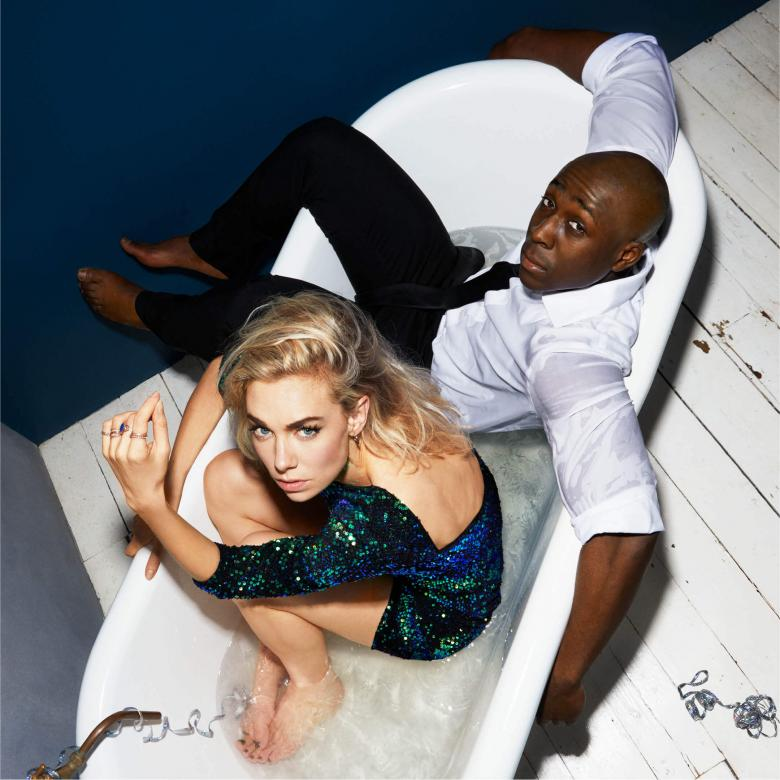Julie - poster with Vanessa Kirby and Eric Kofi Abrefa sitting clothed in a partially filled bath