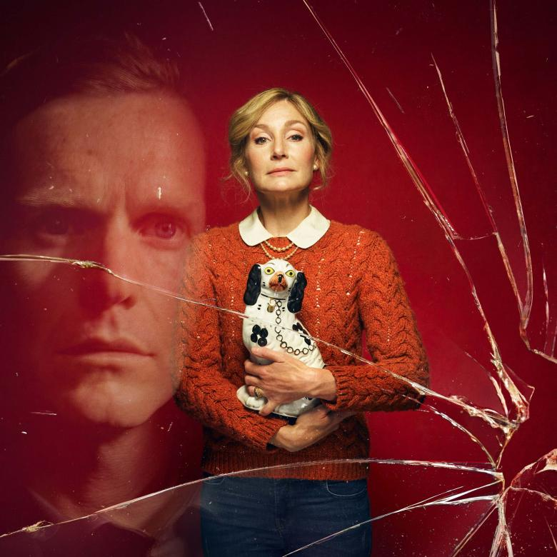 Manor poster image with Nancy Carrol holding a china dog, with the face of Shaun Evans reflected in a pane of broken glass