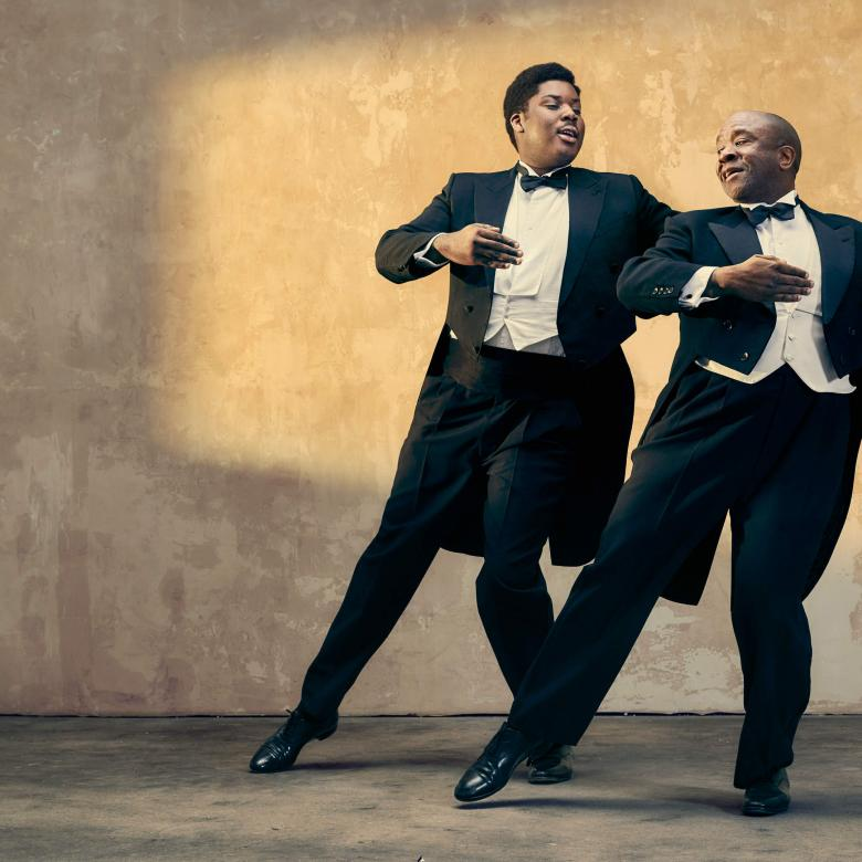 Master Harold and The Boys poster image with Hammed Animashaun and Lucian Msamati in tuxedos, practicing ballroom dancing