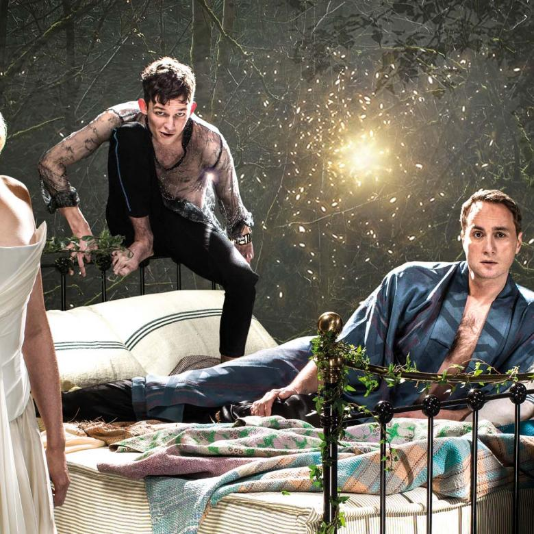 NT at Home: A Midsummer Night's Dream photo with Gwendoline Christie, Oliver Chris, David Moorst and Hammed Animashaun as Titania, Oberon, Puck and Bottom.