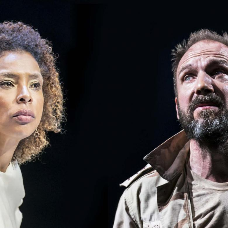 Antony & Cleopatra production image with Sophie Okonedo and Ralph Fiennes