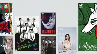 National Theatre Poster Archive - with posters of Fuente Ovejuna, Volpone, Hedda Gabler, King Lear, The History Boys, Jumpers and Amadeus