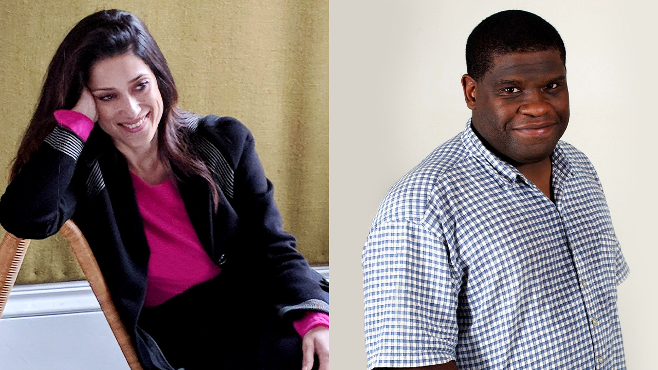 Authors on Stage Fatima Bhutto and Gary Younge portraits