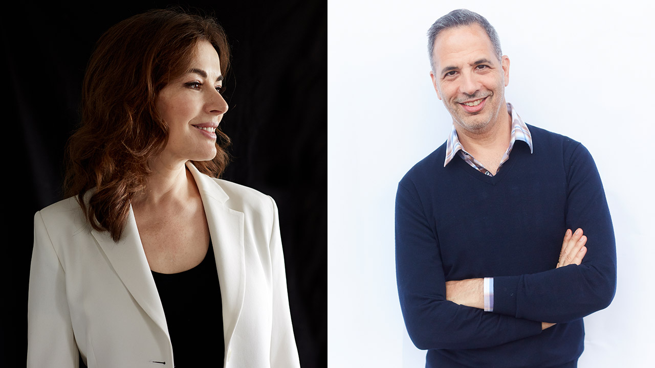 Authors on Stage Nigella Lawson and Yotam Ottolenghi portraits