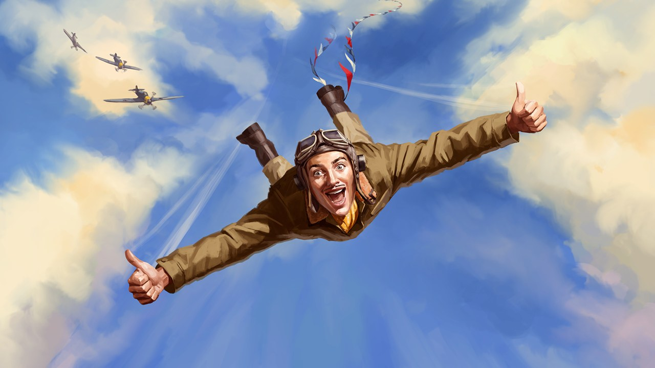 Jack Absolute Flies Again - illustration of a smiling, freefalling pilot giving the thumbs up, whlist pursued by enemy fighter planes