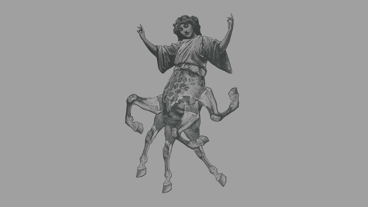 The Antipodes: illustration of a creature with a human torso and head, surmounting 6 horses legs